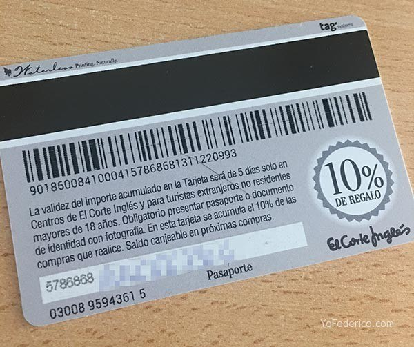 La tarjeta de descuento de El Corte Inglés para turistas 1