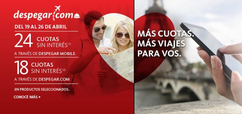 Hasta 24 cuotas sin interés a través de Despegar mobile Tarjetas Santander Río Visa Tarjetas Santander Río American Express
