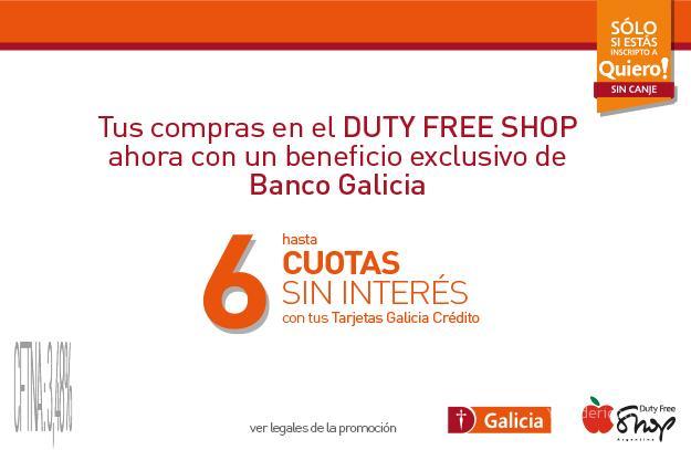 5% OFF con Banco Galicia en el Duty Free Shop Argentina