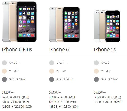 iPhone 6 Plus, iPhone 6, iPhone 5s, en Japón