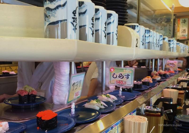 Kaiten Sushi, Sushi Giratorio en Tokyo Japón