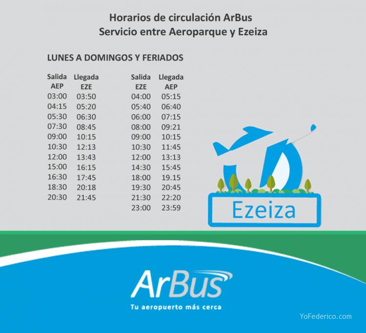 ArBus a Ezeiza - horarios